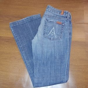 """Pre-Loved  Flare """"A"""" pocket 7 For All Mankind jean"""